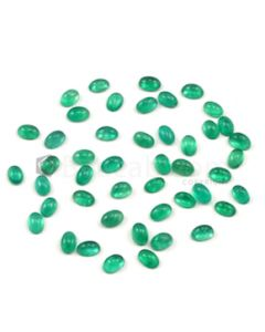 6 x 4 mm - Medium Green Oval Emerald Cabochons - 46 pieces - 22.64 carats (EmCab1018)