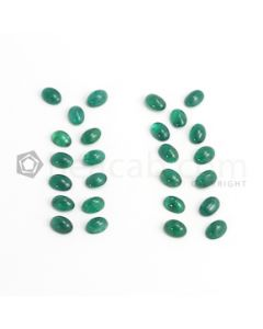 7 x 5 mm - Dark Green Oval Emerald Cabochon - 36 pieces - 20.33 carats (EmCab1053)