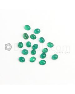 6 x 5 mm - Medium Green Oval Emerald Cabochon - 17 pieces - 11.05 carats (EmCab1081)