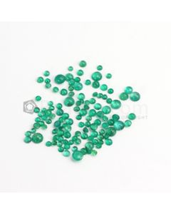 3 to 6 mm - Medium Green Round Emerald Cabochon - 118 pieces - 26.75 carats (EmCab1085)