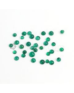 4.80 to 6 mm - Dark Green Round Emerald Cabochon - 35 pieces - 23.96 carats (EmCab1088)