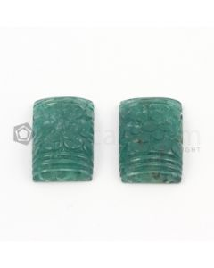 23 x 15 mm - Dark Green Emerald Carving - 2 pieces - 44.65 carats (EmCar1002)
