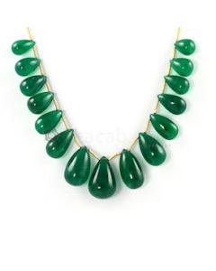 18 x 12 mm to 11 x 6.20 mm - Medium Green Emerald Drop - 15 pieces - 104.96 carats (EDr1040)