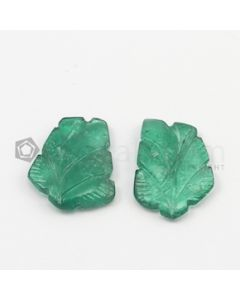 18.50 x 13 mm, 17 x 4 mm - Medium Green Emerald Carving - 2 pieces - 10.60 carats (EmCar1014)