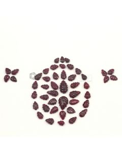13.50 x 9 mm to 6 x 4 mm - Dark Red Ruby Carvings - 47 pieces - 55.26 carats (RCar1007)