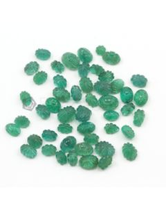 6 x 4 mm to 8 x 6 mm - Medium Green Emerald Carving - 50 pieces - 32.75 carats (EmCar1016)