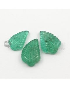 16 x 9.50 mm, 17.50 x 11 mm - Medium Green Emerald Carving - 3 pieces - 14.61 carats (EmCar1018)