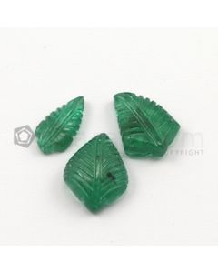 13.50 x 7 mm, 15.50 x 11.50 mm - Medium Green Emerald Carving - 3 pieces - 14.09 carats (EmCar1024)