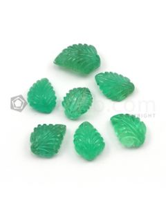 11.50 x 9 mm to 14.50 x 10 mm - Medium Green Emerald Carving - 7 pieces - 26.74 carats (EmCar1027)