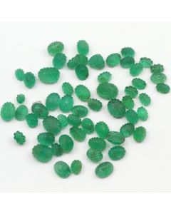 6 x 4 mm to 9 x 7 mm - Medium Green Emerald Carving - 58 pieces - 58.62 carats (EmCar1030)