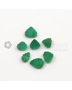 6 x 4 mm to 8 x 6 mm - Medium Green Emerald Carving - 7 pieces - 5.80 carats (EmCar1031)