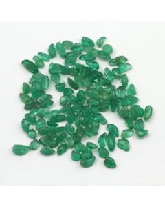 6 x 3.50 mm to 8 x 4.50 mm - Medium Green Emerald Carving - 114 pieces - 45.65 carats (EmCar1033)