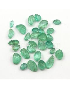 6 x 4 mm to 11 x 7.50 mm - Light Green Emerald Carving - 29 pieces - 37.23 carats (EmCar1036)