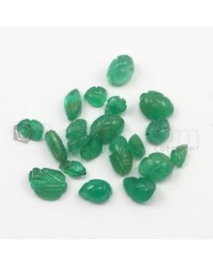 6 x 4 mm to 10 x 7 mm - Medium Green Emerald Carving - 20 pieces - 20.14 carats (EmCar1040)