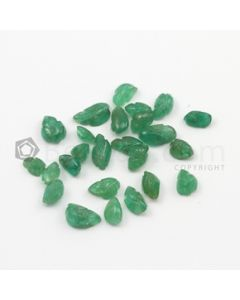 5 x 4 mm to 8 x 4.60 mm - Medium Green Emerald Carving - 25 pieces - 11.89 carats (EmCar1044)