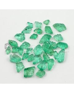 5.50 x 3.50 mm to 10.50 x 8 mm - Medium Green Emerald Carving - 35 pieces - 21.98 carats (EmCar1053)