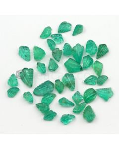 6.50 x 4 mm to 11.50 x 7 mm - Medium Green Emerald Carving - 36 pieces - 33.85 carats (EmCar1055)