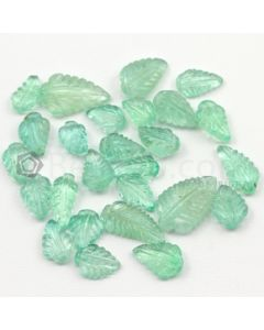 8 x 5 mm to 13.50 x 6.50 mm - Light Green Emerald Carving - 26 pieces - 29.12 carats (EmCar1056)