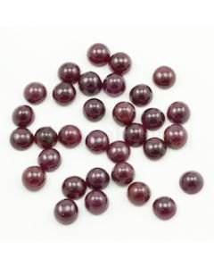 8 mm - Dark Red Ruby Round Shape Cabochons - 32 pieces - 97.49 carats (RuCab1104)