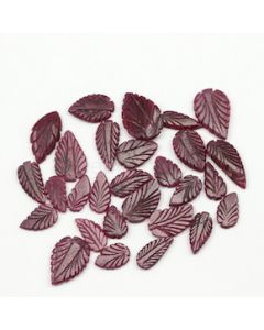 12.50 x 8.70 mm to 20.50 x 13.20 mm - Dark Red Ruby Leaf Shape Carving - 28 piece - 96.33 carats (RCar1015)