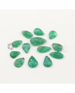 10.80 x 7 mm to 16.30 x 8.80 mm - Medium Green Emerald Carving - 13 pieces - 27.65 carats (EmCar1063)