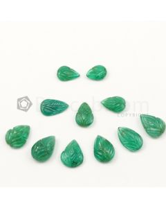 10 x 7 mm to 13 x 9.50 mm - Medium Green Emerald Carving - 11 pieces - 26.49 carats (EmCar1064)