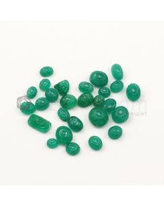 6 x 4.50 mm to 9.60 x 8.60 mm - Medium Green Emerald Carving - 27 pieces - 35.12 carats (EmCar1072)