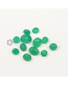 8 x 5.50 mm to 12.40 x 10 mm - Medium Green Emerald Carving - 12 pieces - 31.42 carats (EmCar1074)