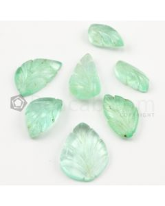 16 x 9 mm to 24 x 8 mm - Light Green Emerald Carving - 5 pieces - 41.94 carats (EmCar1089)