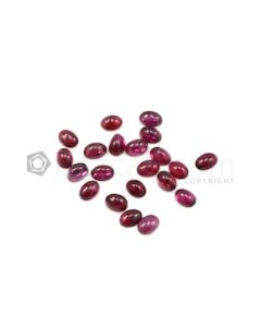 7 x 5 mm - Dark Pink Tourmaline Oval Cabochons - 21 Pieces - 19.27 carats (ToCab1065)