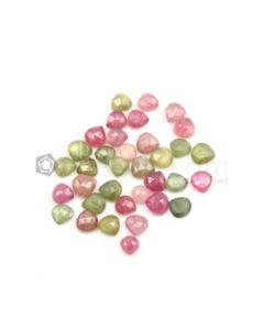 6.30 x 6 mm to 7.50 x 7.70 mm - Medium Tones Multi-Sapphire Pear Rose Cut Gemstones - 35 Pieces - 54.50 carats (MSRC1018)