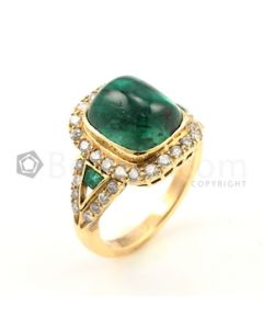 Yellow Gold, Emerald and Diamond Ring - 7.00 grams - EST1018