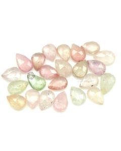 6.20 x 4.70 to 8.00 x 5.00 mm - Medium Tones Multi-Sapphire Pear Rose Cuts - 24 Pieces - 19.00 carats - MSRC1077