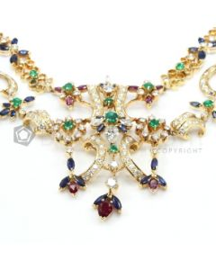 18kt Yellow Gold, Blue Sapphire, Emerald, Ruby and Diamond Ladys Necklace  - 113.2 grams - EST1146