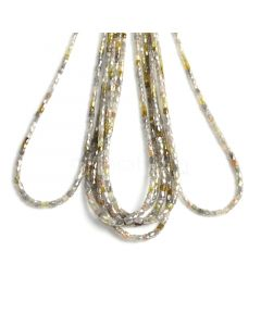 7 Lines - Yellow, Gray Diamond Tube Beads - 161.38 cts - 2 x 1.8 to 3.5 x 3.3 mm (FNCYDIA1037)