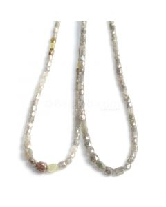 2 Lines - Gray Diamond Tube Beads - 80.60 cts - 2 to 5 mm (FNCYDIA1039)