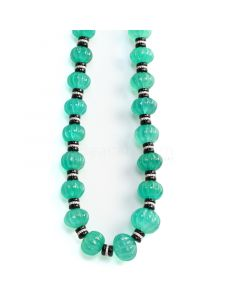 1 Line - Medium Green Emerald Carved Beads with Black Diamond Clasp - 405.25 cts - 11 to 15.5 mm (FJ1021)