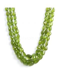 3 Lines - Medium Green Peridot Faceted Tumbled Beads - 814.30 cts - 8.3 x 8 mm to 14.8 x 11.8 mm (PFTUB1001)