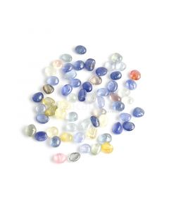 61 Pcs - Medium Tones No Heat Multi-Sapphire (Ceylon) Tumbled Cabochons - 155.13 cts. - 7.7 x 7 mm to 9.5 x 6.3 mm (MSFF1018)
