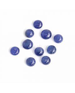 10 Pcs - Medium Blue Sapphire Cabochons - 31.90 ct. - 7.9 to 9 mm (SACAB1073)