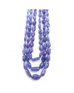 3 Lines - 880.05 ct. - Violet Tanzanite Tumbled Beads - 7.5 x 6.5 mm to 22 x 18.5 mm - 17 to 20 in. (TZTUB1098)