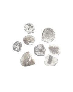8 Pcs. - 17.02 cts. - Grayish White Diamond Slices - 14.29 x 11.83 x 0.55 mm to 20.77 x 17.80 x 0.84 mm (DS1161)