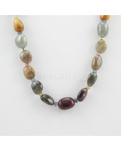 13 to 16.50 mm - 1 Line - Multi-Sapphire Tumbled Beads Necklace - 313.95 carats (CSNKL1107)
