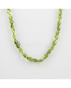 7.80 to 11.00 mm - 1 Line - Peridot Tumbled Beads Necklace - 125.50 carats (CSNKL1118)