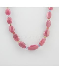 10 to 21 mm - 1 Line - Pink Sapphire Tumbled Beads Necklace - 248.50 carats (CSNKL1116)