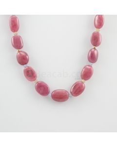 14.50 to 19 mm - 1 Line - Pink Sapphire Tumbled Beads Necklace - 346.13 carats (CSNKL1117)