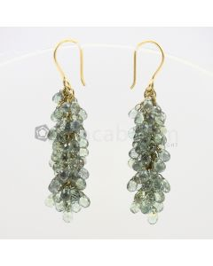 3 to 4 mm - Green Sapphire Drop Earrings - 57.50 carats (CSEarr1013)