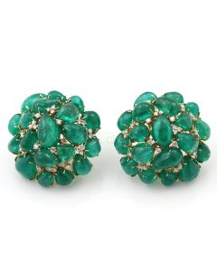 Columbian Emerald Cabochon Cluster 18kt Yellow Gold Earrings - EST1428