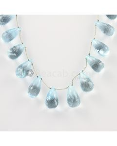 14 to 16 mm - Medium Blue Aquamarine Drops - 144.00 carats (AqDr1011)