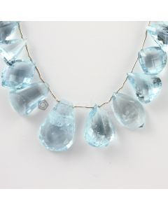 9 to 21 mm - Medium Blue Aquamarine Drops - 128.00 carats (AqDr1040)